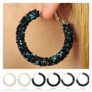 Sequin Hoop Earrings 3 Color Choices